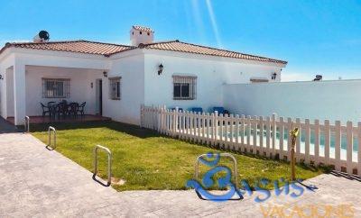 Casa Ibicenca Palmar 1, recién reformada, preciosa, con 3 dormitorios y piscina privada en la playa El Palmar