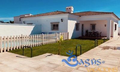 Casa Ibicenca Palmar 2, cerca de la playa con piscina privada para 6 personas, el El Palmar.